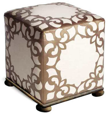 This ottoman featuring exclusive fabric is part of Fine Furniture Design's Bogart collection introduction.