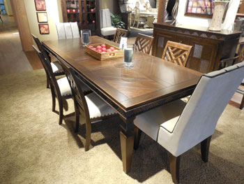 This dining set is part of the Excursions collection that Emerald Home Furnishings is showing at this week's High Point Premarket. It has West Indies and tropical design influences and is made with Indonesian mahogany veneers. A table and four chairs and retails at $1,199.