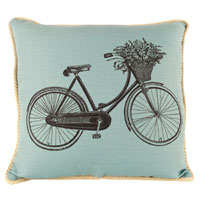 Bicycle with Flower Basket pillow from Ox Bow Decor
