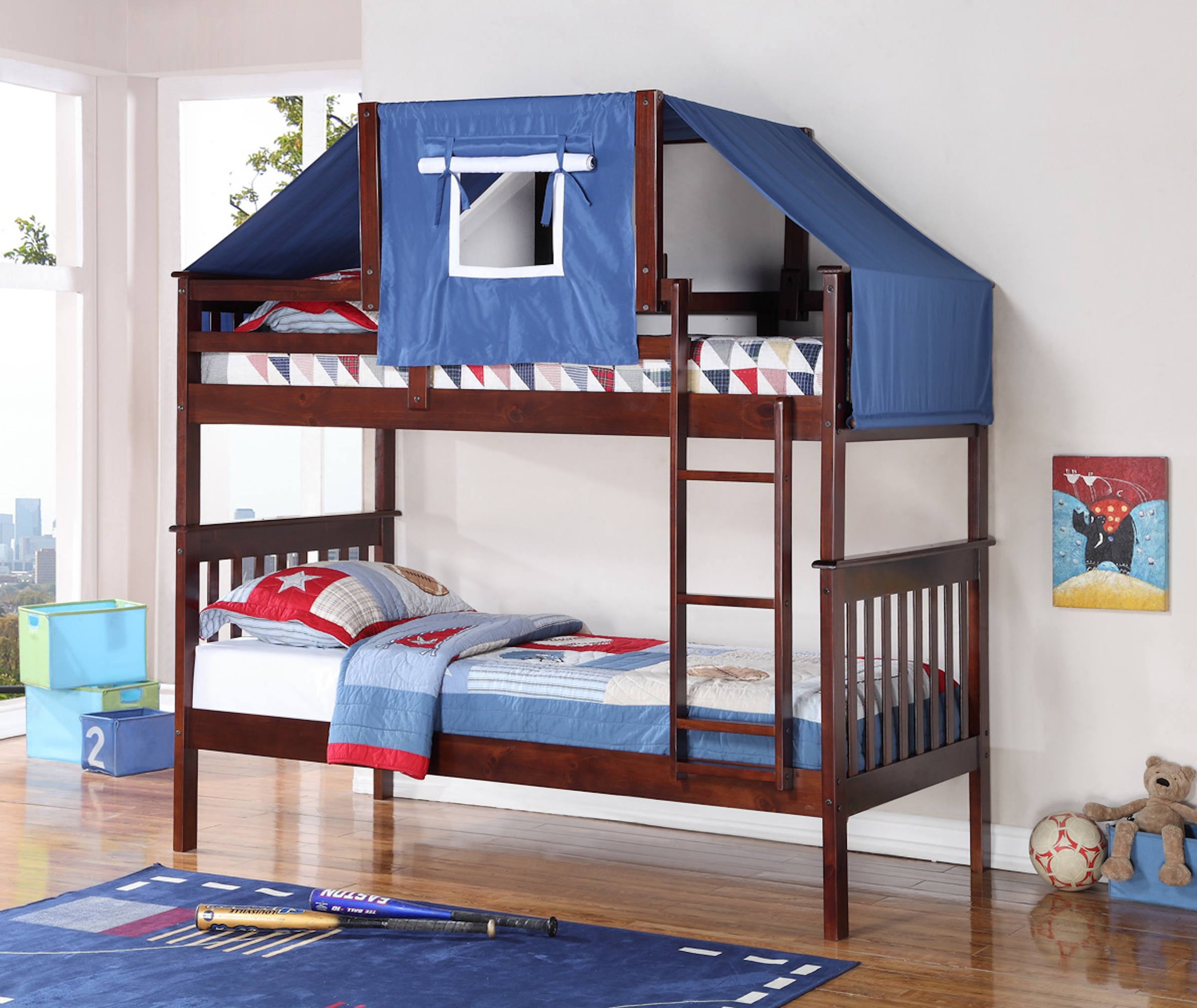 bunk beds make the most of small spaces kids today. Black Bedroom Furniture Sets. Home Design Ideas