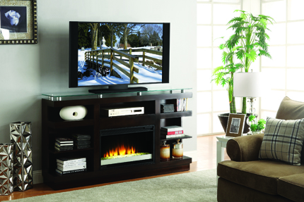 The Novella wall unit from Legends (with an optional media center/fireplace) features straight lines, lighted piers and a raised tempered glass console top. It is constructed from various species of solids and veneers and comes in a multistep dark chocolate finish. Suggested retail is $899.