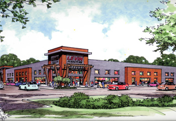 An artist's rendering shows a planned Levin Furniture store that will be double the size of the Cleveland-area store it is replacing.