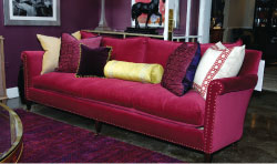 Cranberry velvet is a color-saturated variation on Radiant Orchid, Pantone's hue of the year.