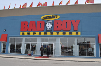 Lastman's Bad Boy in Whitby, Ontario, is one of two Bad Boy stores located in traditional shopping centers and the only one with direct access to the rest of the mall.