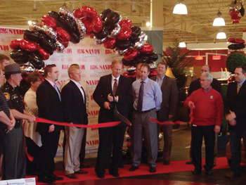Robbie VanHoose, CEO of Franklin Furnace, Ohio-based Big Sandy Superstore, cuts the ribbon on the retailer's 50,000-square-foot showroom in Lancaster, Ohio, its first expansion since 2009.