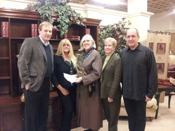 Cabot House General Manager Gail Bradbard, Center, Presents Checks To David  Steady, Left