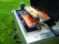 The Rib-O-Lator extends the usefulness of a grill's rotiserrie spit
