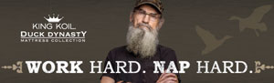 "Duck Dynasty mattress line, the ""Work Hard. Nap Hard."""