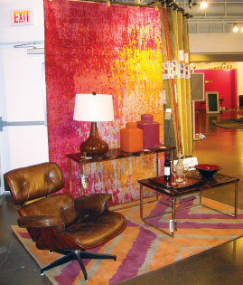Vignettes in Surya's showroom highlight the manufacturer's spectrum of products.