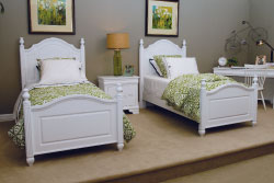 Vaughan-Bassett's French Market youth group has updated Louis Philippe styling and is shown here in a white finish. Twin beds retail at $499.