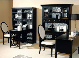 Magnussen Home's Shelby Lane Home office is shown in a black finish and includes multiple desk and hutch configurations.