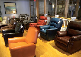 Southern Motion's Center Point showroom includes a display of the nine colors available in the new Leather Rich cover.