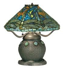 The Dragonfly Shade with Snake Basket Metal Base from Dale Tiffany has a dark bronze with verde green finish. daletiffany.com