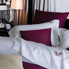 The Livorno bed ensemble is part of the collection Frette offers to hotels.