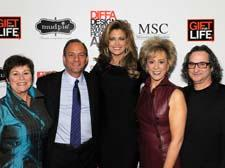 Jenny Hammons, left, and Peter Schauben, right, of Gift For Life flank honorees David Moses, Kathy Ireland and Marcia Miller
