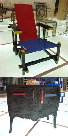 Top: The Red blue Lego Chair, $71,000; bottom: The Push and Store Cabinet, $35,500