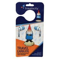 New Travelocity-branded products include the Roaming Gnome Travel Earbuds.
