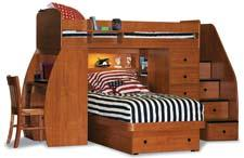 A space-saving design from Berg Furniture includes two beds, a desk and a chest. bergfurniture.com
