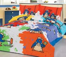 Colorful Penguins is one of a  collection of  bedding sets launching under a new license with Ed Heck.  mainestreetliving.com