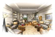 Rendering of the Architectural Digest greenroom
