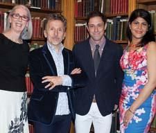 Su Hilty, left, and IFDA NY President Claudia Giselle Tejeda, with Simon Doonan, second from left, and Jonathan Adler.