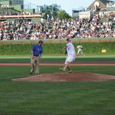 Kaplan throws out the first pitch.