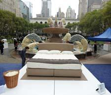 The wool bed in Bryant Park