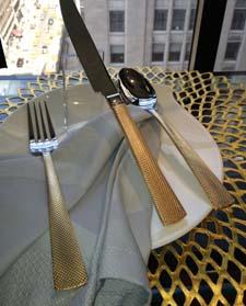 Gold flatware by Hampton Forge