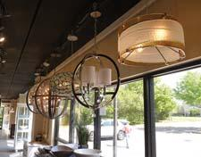 The front window features a trendy group of chandeliers.
