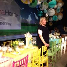 Martha Stewart poses with her J.C. Penney collection of party goods at the event.