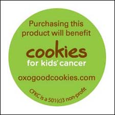 OXO's Cookies for Kids' Cancer product sticker