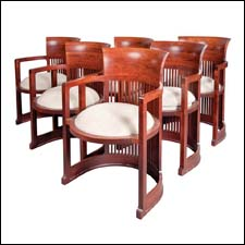 Frank Lloyd Wright barrel dining chairs