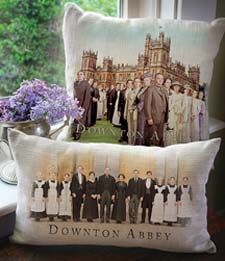 A pillow featuring the Downton Abbey cast