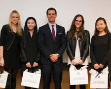 Lalique CEO Maz Zouhairi, center, with LED scholarship winners