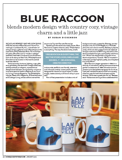 Blue Raccoon retail profile, Home Accents Today, Jan. 2015