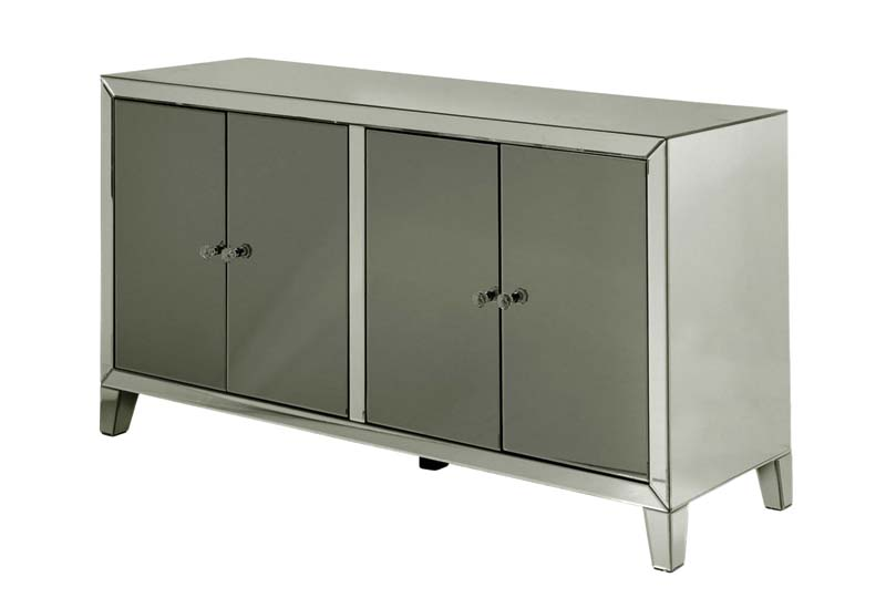 Grand Clear Mirrored Credenza with smoke glass doors stylecraftonline.com