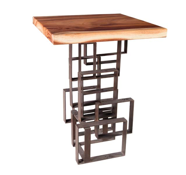 The Score bar table features solid chamcha wood tops. thephillipscollection.com