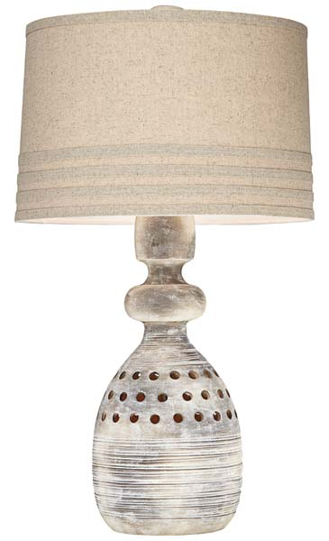 Pacific Coast Lighting debuts the Avarti table lamp (87-7427-48), which has an earthen stoneware finish and a medium beige coarse linen shade.  pacificcoastlighting.com