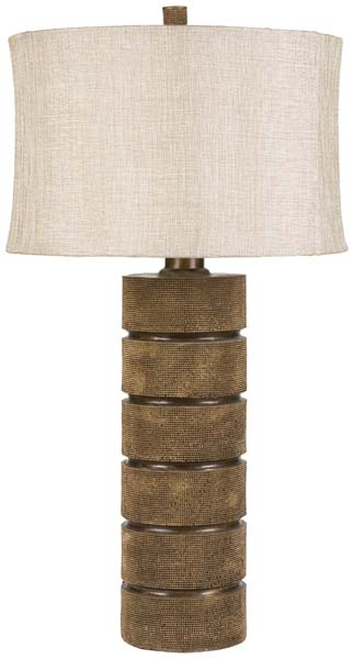 Surya expands its lighting line with Kyoto, which has a resin base and a metallic linen shade. It's 31 inches tall. surya.com