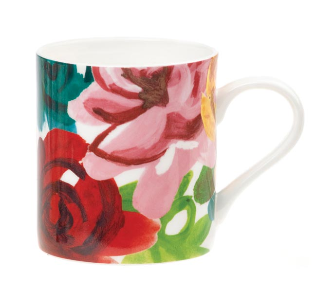 Fine bone china mugs are available in five signature designs and come in a gift box. carolinegardner.com