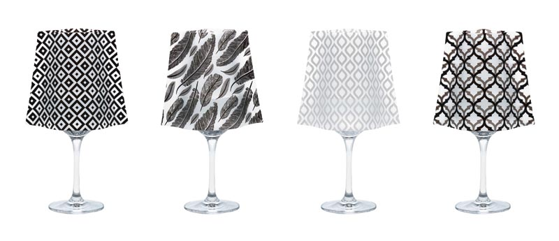 Lumizu Wine Glass Shades are crafted from durable, frosted plastic that slide over water-filled wine glasses containing a floating LED candle. modgy.com