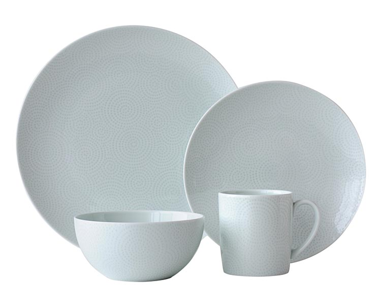 Edokomon, to be shown at Forty One Madison, is premium casual dinnerware with a raindrop pattern inspired by a kimono design.  nikkoceramics.com