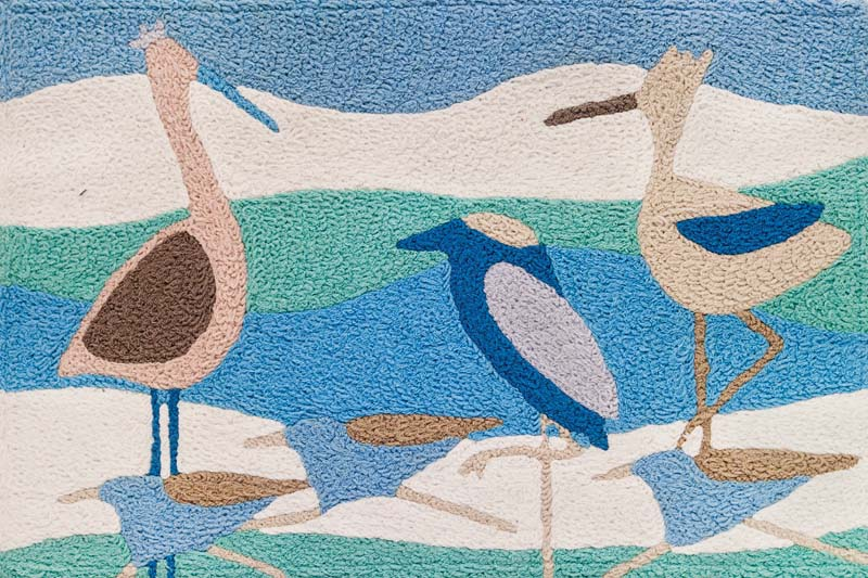 One of two new shore bird rugs from Jellybean, the Shore Birds design is by Jennifer Brinley. Handmade and machine washable, it is available as a set of two in the 20-by-30-inch size or individually as a 20-by-40-inch size. jellybeanrug.com