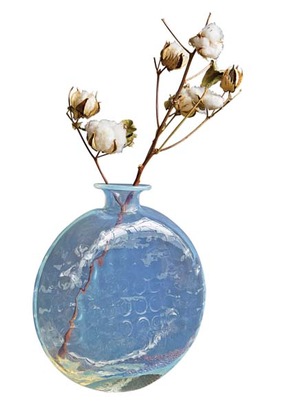 A translucent, seemingly iridescent glass color lends beauty to the Opale collection. dynastygallery.com