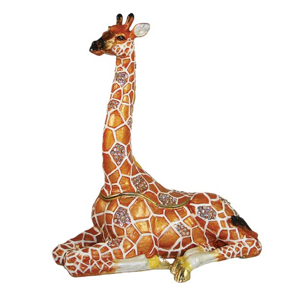 The giraffe jewelry or trinket box is handpainted enamel with amber crystals.  artistique5.com