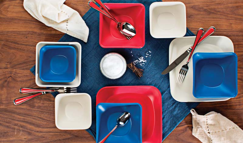 Created by sailor Aimee Marti to conquer the challenges of dining at sea, Carina dinnerware features curved edges and non-slip bases to help table settings stay put. starboardcollection.com