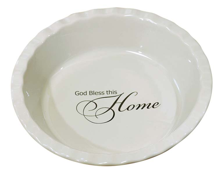 Offering a sentiment at the bottom, this substantial deep dish-style pie plate is made of oven-, microwave- and dishwasher-safe stoneware. abbeytrade.com
