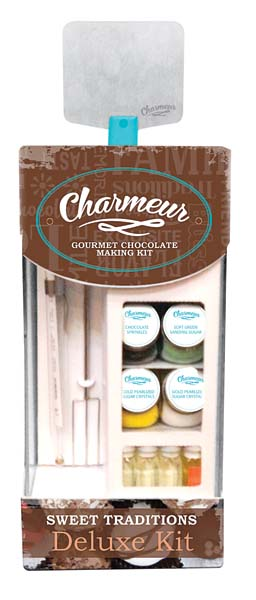 A new line of basic and deluxe kits contain all the necessary ingredients, tools and supplies for preparing gourmet chocolates at home. charmeur.com