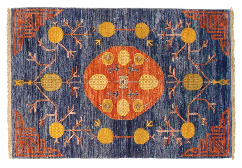 This Khotan design from F.J. Kashanian's Sari Wool collection, in denim blue, is made with 100 percent wool in Kashmir, India. Five sizes are available. fjkashanian.com