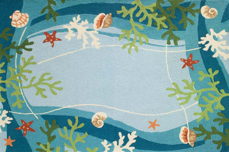 Jellybean will debut its indoor/outdoor area rug line, available in 34-by-54-inch and 58-by-78-inch sizes. All are handmade and washable and include this design, Underwater Coral & Starfish.  jellybeanrug.com